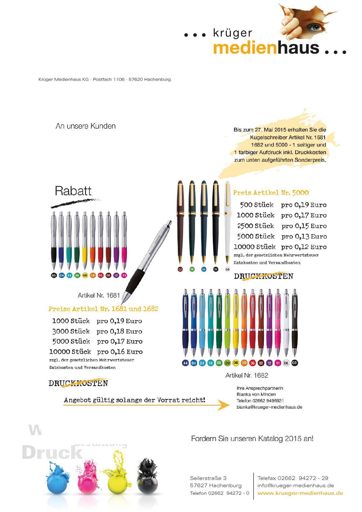 Krueger-Kugelschreiber-Werbung